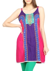Color Block Mirror Work & Embroidered Cotton Kurti - Globus