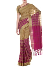 Magenta -beige Colored Banarasi Silk Saree With Zari And Yarn Dyed Check Weave - By