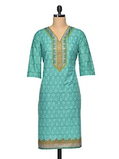 Green Cotton V-Neck Printed Kurti - Vgf