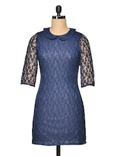 Navy Blue Lace Dress - Besiva