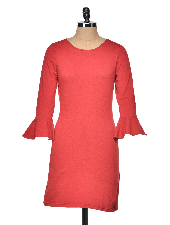 Full Sleeve Maroon Dress With Flared Cuff - Besiva
