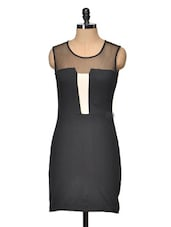 Colour Block Bodycon Dress With Mesh Detail - Besiva