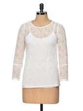 Full Sleeve White Lace Top With Spaghetti - Besiva