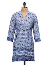 Blue Cotton Paisley Printed Kurti - Ayaany
