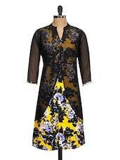 Yellow ,Black Georgette Floral Printed Kurta - Ayaany