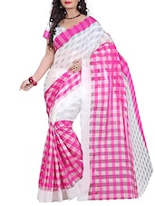 White-Pink And Aqua Cotton And Matka Silk Bengal Handloom Saree - By
