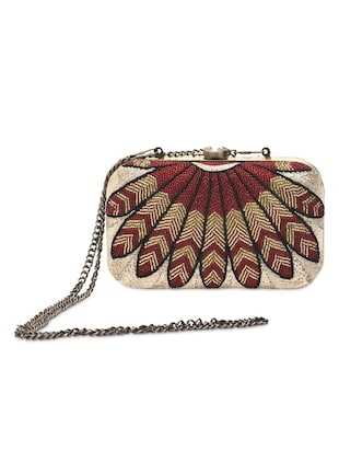 Red and gold beaded clutch