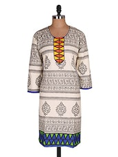Regular Casual Off White And Yellow 3/4th Sleeve Women's Kurti - Sale Mantra