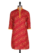 Regular Casual Red And Yellow 3/4th Sleeve Women's Kurt - Sale Mantra