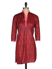 Regular Casual Red And Pink 3/4th Sleeve Women's Kurti - Sale Mantra