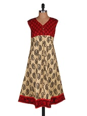 Froke Festive Off White And Red 3/4th Sleeve Women's Kurti - Sale Mantra