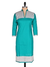 Regular Casual Green And White 3/4th Sleeve Women's Kurti - Sale Mantra