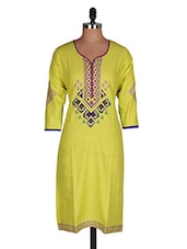 Regular Casual Green And Blue 3/4th Sleeve Women's Kurti - Sale Mantra
