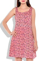 pink Rayon Printed Dress -  online shopping for Dresses