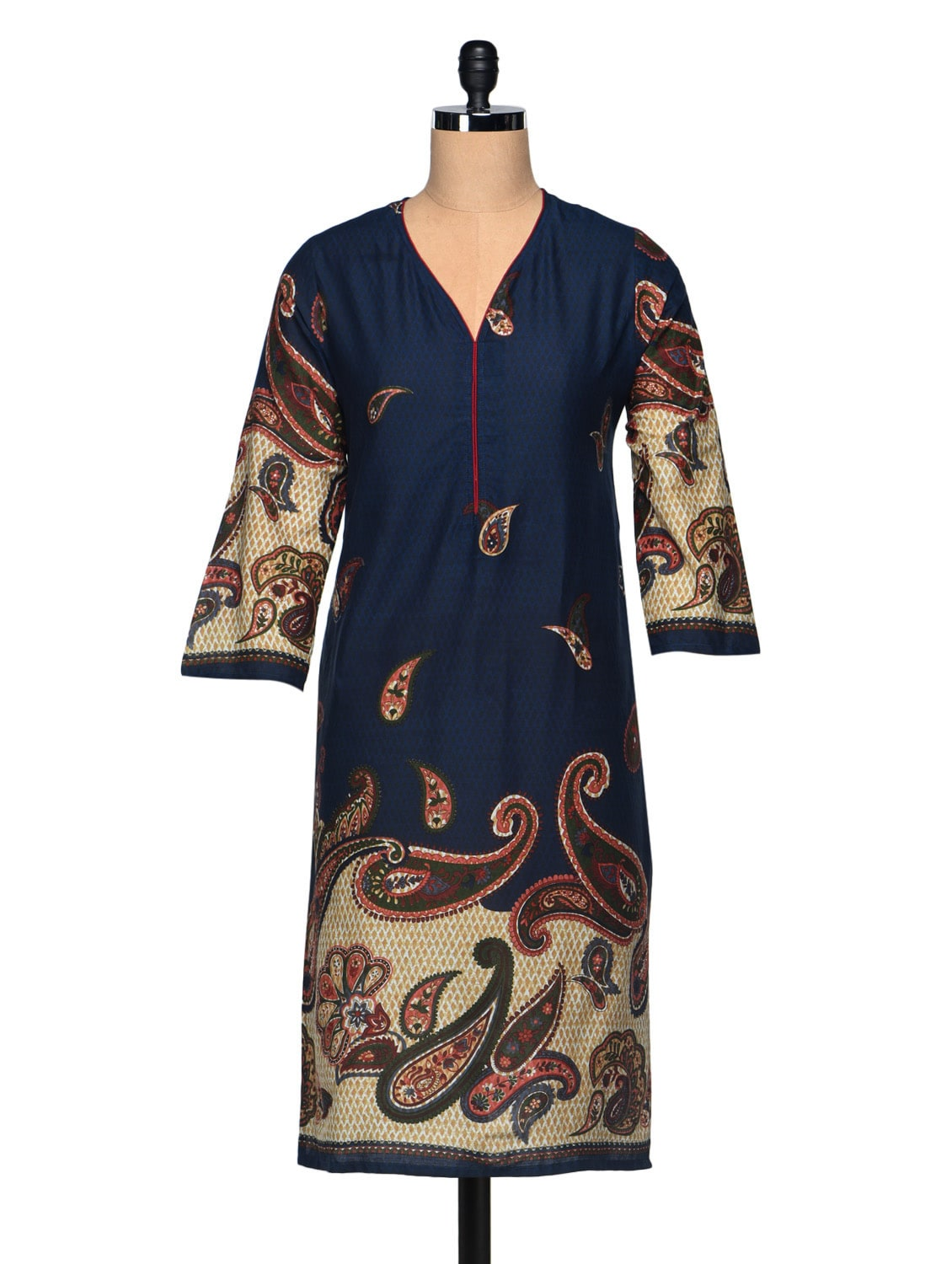 Paisley Print Three Quarter Sleeve Cotton Kurta - Enakshi