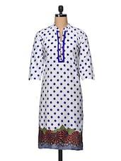Mandarin Collar Polka Dot Print Cotton Kurta - Enakshi