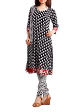 Cotton Printed  Black Salwar Suit Dress Material - Pinkshink