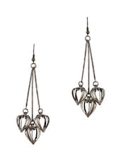Antique Grey Hanging Three Dimensional Heart Earring - THE BLING STUDIO