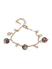 Golden  Bracelet With Multi Crystal Balls - THE BLING STUDIO