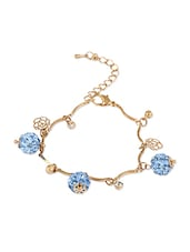 Golden  Bracelet With Blue Crystal Balls - THE BLING STUDIO