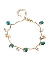 Golden  Bracelet With Dark Green Stones - THE BLING STUDIO