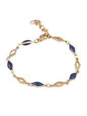 Golden Bracelet With Navy Beads - THE BLING STUDIO