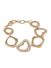 Thiick Golden Bracelet With Heart  Circle - THE BLING STUDIO