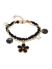 Black Bead  Golden Chain Bracelet  With Pearl  Black Flower Charms - THE BLING STUDIO