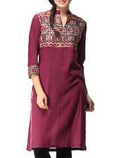 Maroon Cotton Printed Kurta - By