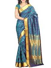 Blue Gold Art Silk Saree - By