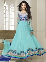 blue embroidered 60gram Georgette semi stiched suit set -  online shopping for Dress Material