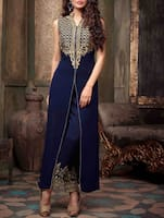 blue embroidered Georgette semi stiched suit set -  online shopping for Dress Material