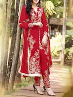 red embroidered Georgette semi stiched suit set -  online shopping for Dress Material