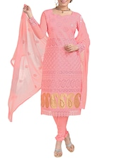 Embroidered Glaze Cotton Dress Material(Peach) - By