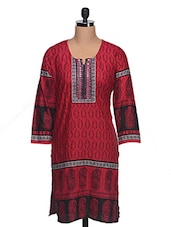 Maroon Cotton Kurta With Paisley Print - Rainbow Hues