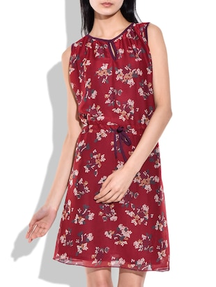 red color Printed Georgette dress