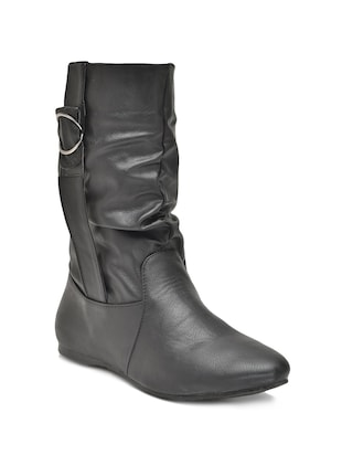 black Synthetic Leather Boot