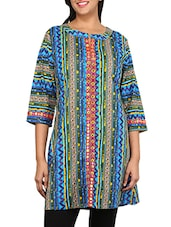 Blue Multi Printed Cotton Kurta - By
