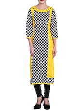 Monochrome Checkered Rayon And Cotton Kurta - By