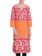 Red And Orange Paisley Printed Cotton Kurta - By