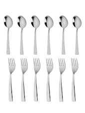 Stainless Steel Dessert Spoon And Dessert Fork Set - MOSAIC