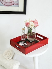 Red Hand Crafted And Hand Painted Rectangular Tray - By