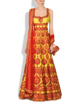 Yellow And Red Crepe Full Stitched Suit Set