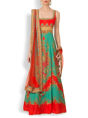 Red And Green Crepe Full Stitched Suit Set