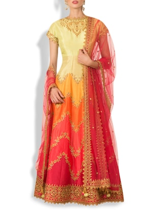 multicolored silk embroidered suit set