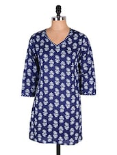 Blue & White Printed Cotton Kurti - Cotton Curio