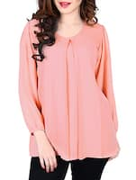 Peach Plain Georgette Top -  online shopping for Tops