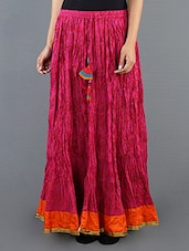 Printed Pink Crinkle Long Skirt - Cotton Curio