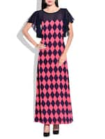 pink,navy blue georgette & crepe dress -  online shopping for Dresses