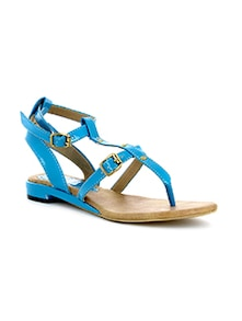 Blue Plain Synthetic Leather Sandals